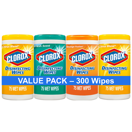 Clorox Disinfecting Wipes (300 ct Value Pack), Bleach Free Cleaning Wipes - 4 Pack - 75 ct Each