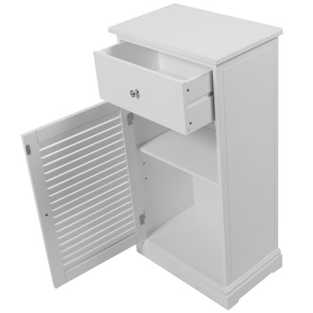 Storage Floor Cabinet Wall Shutter Door Bathroom Organizer ...