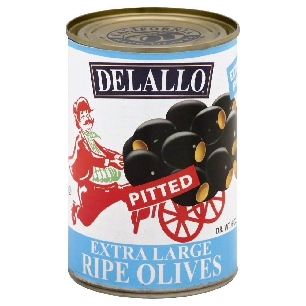 (2 Pack) DeLallo Pitted Extra Large Ripe Olives, 6 Oz