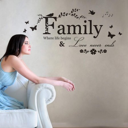 Family Letter Quote Removable Wall Stickers, Inspirational Vinyl Wall Decal Words Quote Wall Art Sticker Home Decor for Bedroom Living Room(Family Where Life Begins Love Never Ends) ()