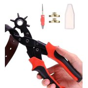 Revolving Punch Plier Hole Tool with Brass Pad, Screwdriver, Grinding Rod for Belt, Saddle, Watch Strap, Shoe, Fabric