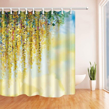 Rattan Bathroom (ARTJIA Watercolor Splashing Tree Rattan Polyester Fabric Bathroom Shower Curtain 66x72 inches )