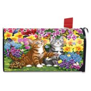 Garden Kittens Spring Magnetic Mailbox Cover Cats Standard Briarwood Lane