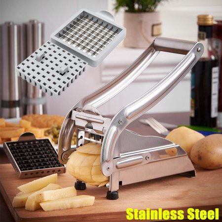 Stainless Steel French Fries Potato Chip Cutter Slicer Chopper Dicer Maker with 2 Interchangeable Blades for Fruit Veg Potato 36/64 (Best Food Chopper Dicer)
