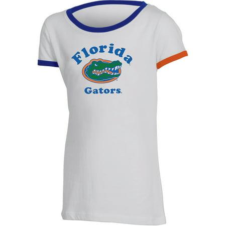 Girls Youth Russell White Florida Gators Ringer (Girls Ringer T-shirt)