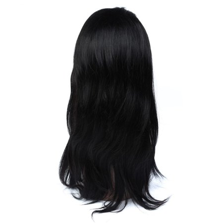 Beroyal Human Hair Lace Front Wig Peruvian Virgin Straight Hair Crochet Lace Front Wig with Baby Hair Natural Color, 14