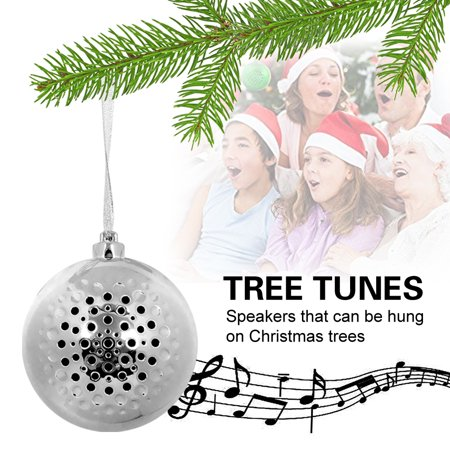 Christmas Ball Sound Speaker Audio,iClover Mini Christmas Ornament Jingle Bell Bluetooth Wireless Speaker Ornament Holiday Tunes for Christmas Tree Silver (Jingle Bell Sound)