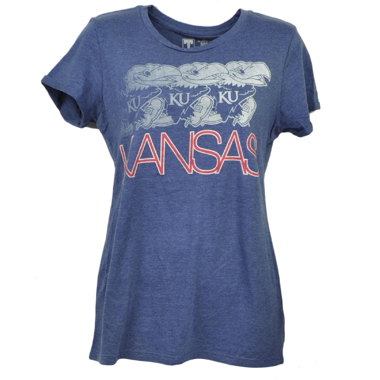 NCAA Kansas Jayhawks Blue Crew Neck Tshirt Tee Short Sleeve Womens Ladies Small