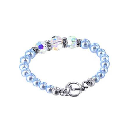 Gem Avenue Sterling Silver Swarovski Elements Blue Faux Pearl With Crystal Handmade Bracelet 7 5 Inch