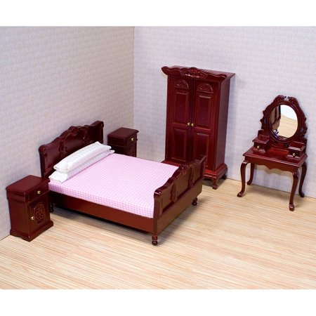 Melissa & Doug Classic Victorian Wooden and Upholstered Dollhouse Bedroom Furniture, 5pc