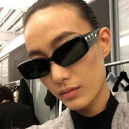 European And American Styles Trends Hd Universal Flat Mirrors Retro Squares Wide Legs Hip Hop Fashion 2185 Sunglasses bright black gray film - image 8 de 8