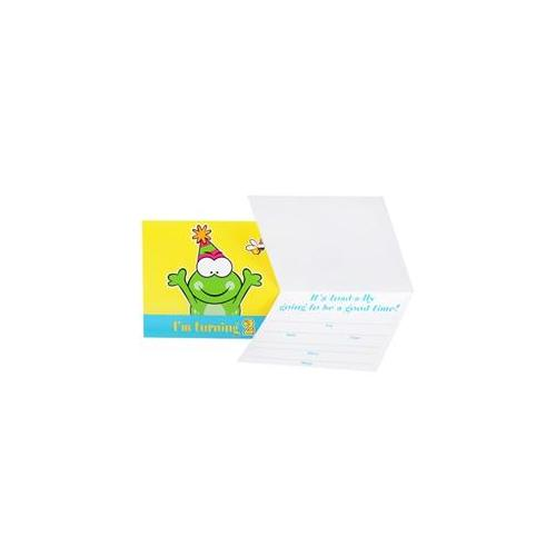 Party Destination 235484 Froggie Fun 2nd Birthday Invitations