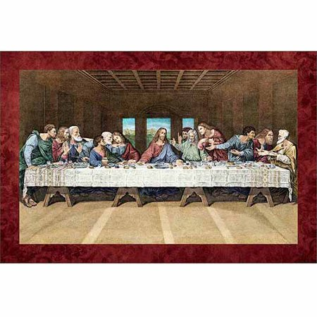 Jesus Painting - Last Supper Jesus Lord Apostles Religious Painting Tan & Red Canvas Art by Pied Piper Creative