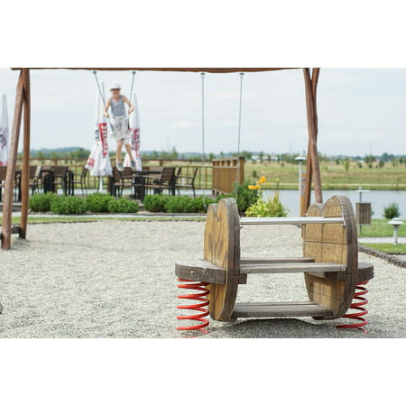 Canvas Print Wooden for Children Swing Playground Spring Stretched Canvas 10 x 14