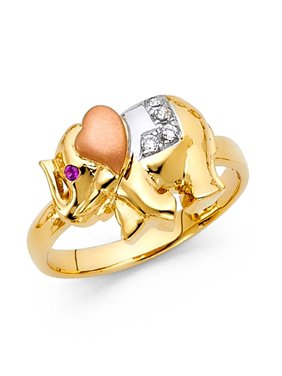 Womens Tri-color 14K Solid Gold Cubic Zirconia Elephant Fancy Ring, Size 4