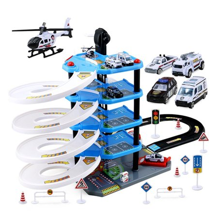 Kids Boys Car Toy 5-Layers Police Station Parking Garage Playset Model Cars Airplane Toy for Kids