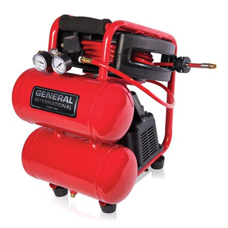 General International AC1212 1/3 HP 2 Gallon Twin Stack Air Compressor With  25 ft  Auto Rewind Hose Reel