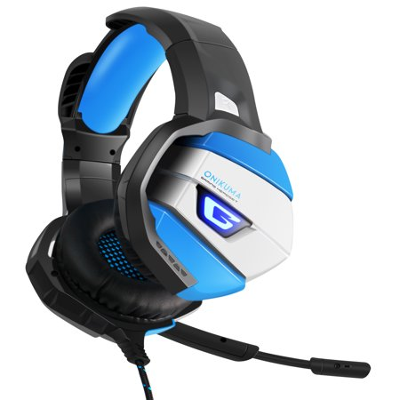 ONIKUMA K5 Stereo Gaming Headset for PS4, Xbox One, PC 【2019 Newest】 【50mm Driver】Noise Cancelling Mic, Zero Ear Pressure, Mute & Volume Control, with Mic, LED Light, Bass (Ps4 Best Headset 2019)