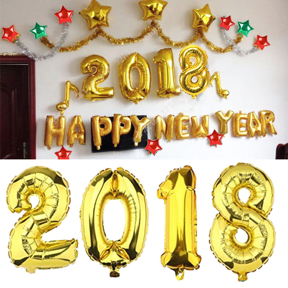 "16 inches 40 inches ""HAPPY NEW YEAR 2018 ""Letter Foil Inflated Balloon Float Helium Aluminum Balloons for Home Decoration"