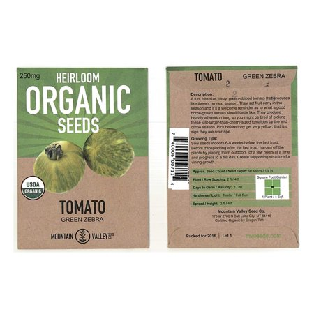 Tomato Garden Seeds - Green Zebra - 250 mg Packet - Non-GMO, Organic, Heirloom, Vegetable Gardening Seed ()