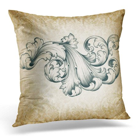 Acanthus Scroll - ECCOT Vintage Baroque Engraving Floral Scroll Filigree Design Border Acanthus Pattern at Retro Grunge Damask Pillowcase Pillow Cover Cushion Case 16x16 inch