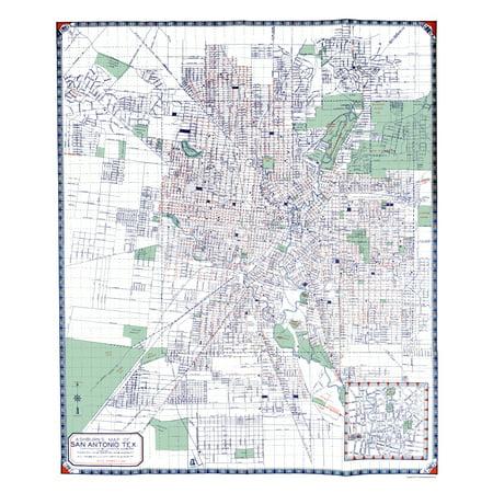 Old City Map - San Antonio Texas - Ashburn 1940 - 23 x 26.65 (San Antonio City)