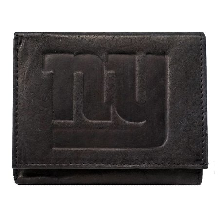 New York NY Giants NFL Embossed Logo Black Leather Trifold Wallet