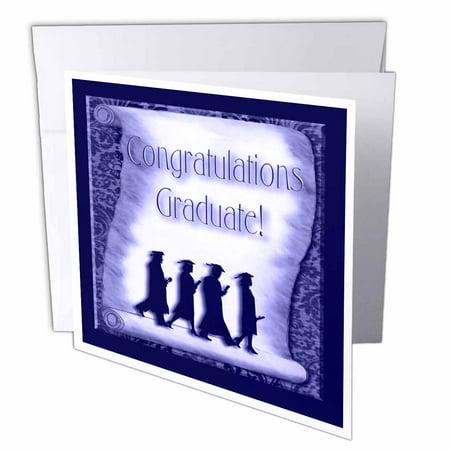 Graduate Card - 3dRose Congratulations Graduate Blue, Greeting Cards, 6 x 6 inches, set of 12