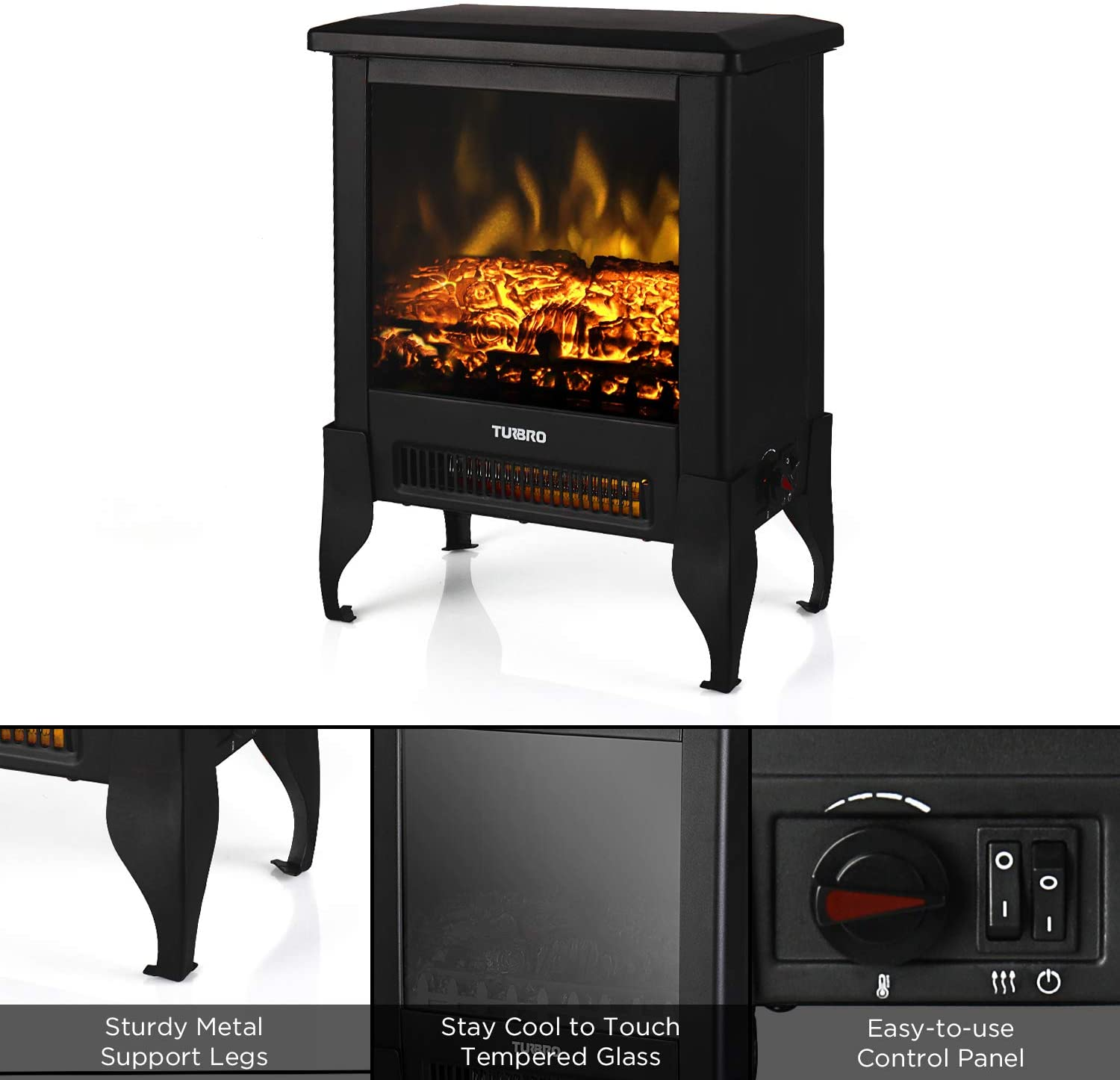 17 1400W TURBRO Suburbs TS17 Compact Electric Fireplace Heater Freestanding Fireplace Stove with Realistic Flame CSA Certified Overheating Safety Protection for Small Spaces