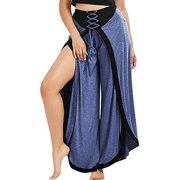 Tailored Women Sexy Wide Leg Pants Lace Up Loose High Waist Palazzo Flared Trousers