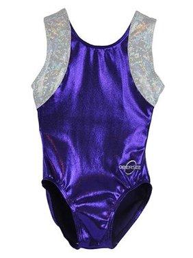 o3gl053 obersee girl's girls gymnastics leotard - cross back purple