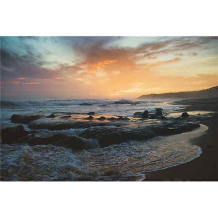 Colourful Sunset & Water Washing Up on The Shore - Tarifa Cadiz Andalusia Spain Poster Print - 36 x 24 in. - Large - image 1 de 1
