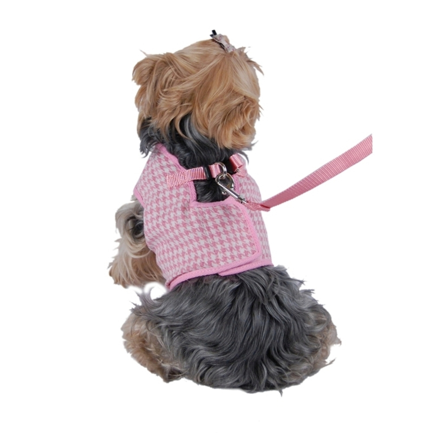 Pink White Hundstooth Jersey Harness W/ Leash For Dog - Large (Gift for Pet)