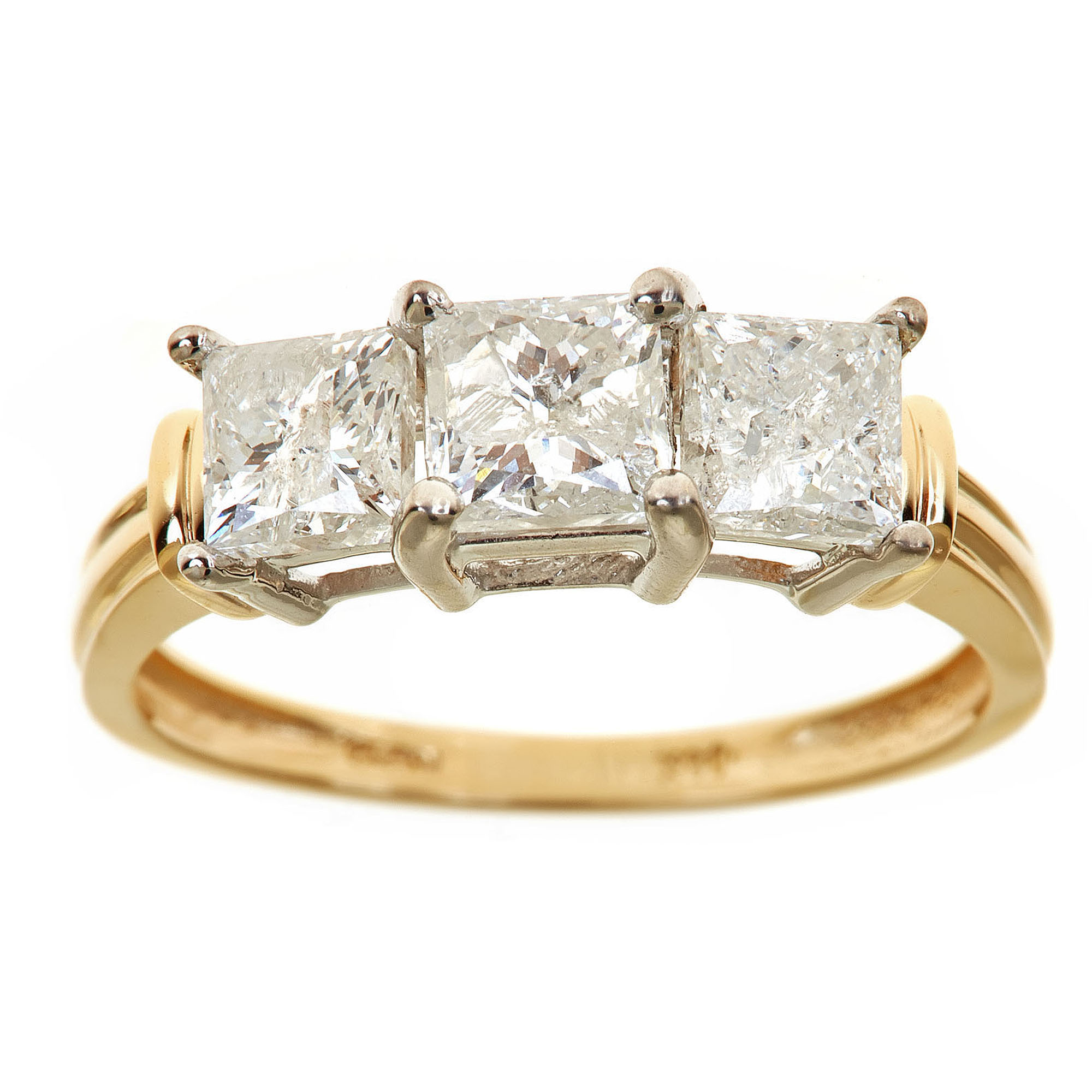 2 Carat T.W. Princess White Diamond 14kt Yellow Gold 3-Stone Ring, IGL certified