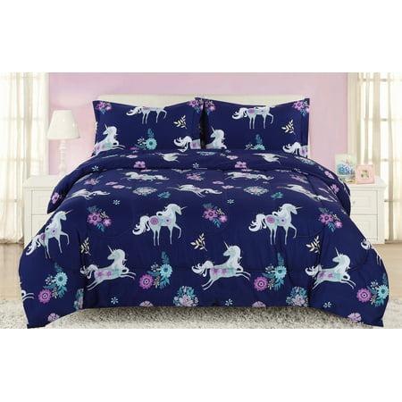 Twin Girls Unicorn Comforter Bedding Set, Navy Blue, Purple and Teal Flowers (Light Purple Bedding Twin)