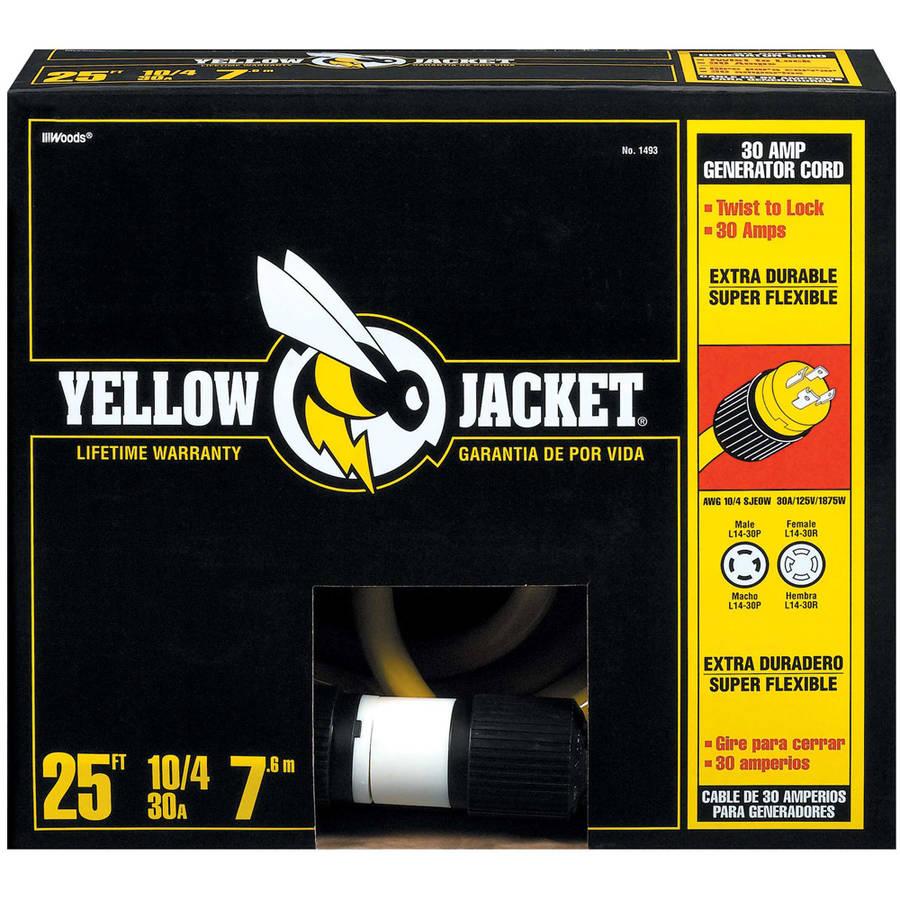 Yellow Jacket 1493 10/4 Heavy-Duty STW 30-Amp/250V Generator Power Cord, 25'
