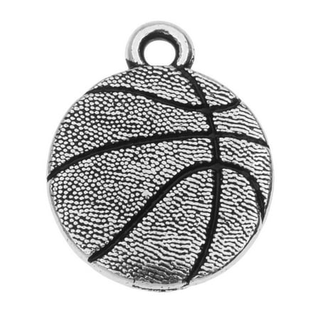 Male Basketball Player Charm (TierraCast Pewter Charm, 2-Sided Basketball 19.3x15.5mm, 1 Piece, Antiqued Silver Plated )