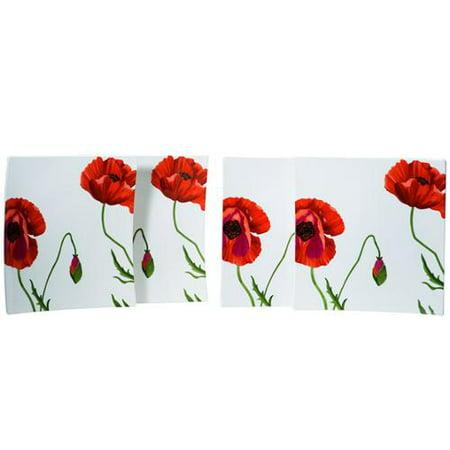 Red Vanilla \'Summer Sun\' Square Dinner Plates (Set of 4) - Walmart.com