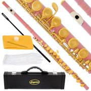 Lazarro 180-LP Professional Light Pink-Gold Closed Hole C Flute with Case, Care Kit-Great for Band, Orchestra,Schools