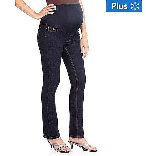 Oh! Mamma Maternity Plus-Size Full-Panel Basic Super Soft Straight-Leg Jeans