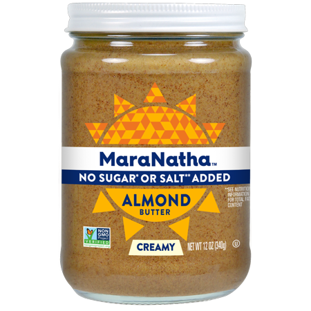 (2 Pack) MaraNatha No Sugar or Salt Added Creamy Almond Butter, 12 oz
