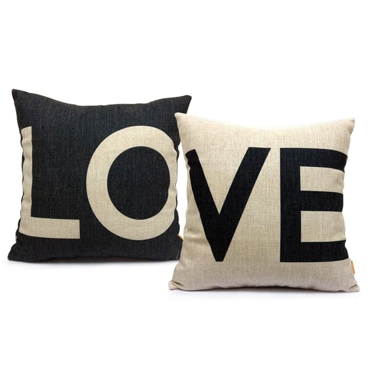 Popeven Set of 2 Love Letter Pillow cover Cotton Canvas Decorative Throw Pillow Case Cushion Cover for Sofa or Living Room 18x18''Home Decor
