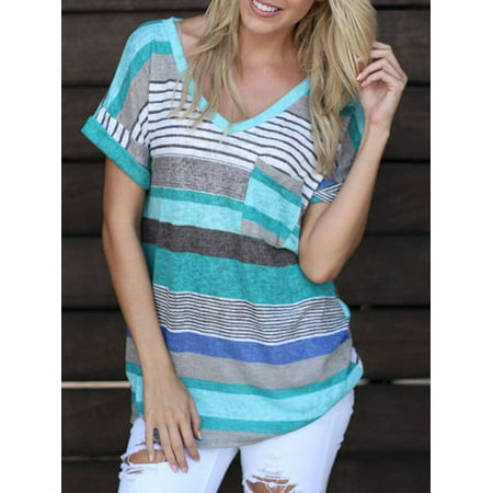 (Topcobe Summer Short Sleeve T-shirt for Women, Loose Irregular Blouse Striped V Neck Tunic Tops for Women, T06BLS Thin Fabric Pullover Shirts for Women(Blue, Size: S-2XL))