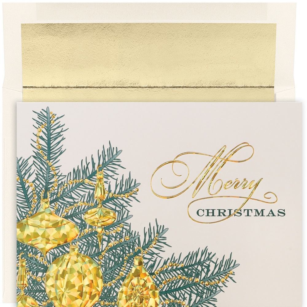JAM Paper Christmas Card Set, Golden Baubles Holiday Cards, 16 Cards & Envelopes/Pack