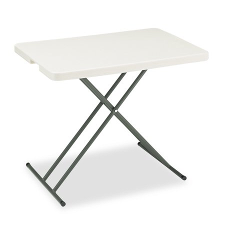 Iceberg Indestructables Too 1200 Series Resin Personal Folding Table  30 X 20  Platinum