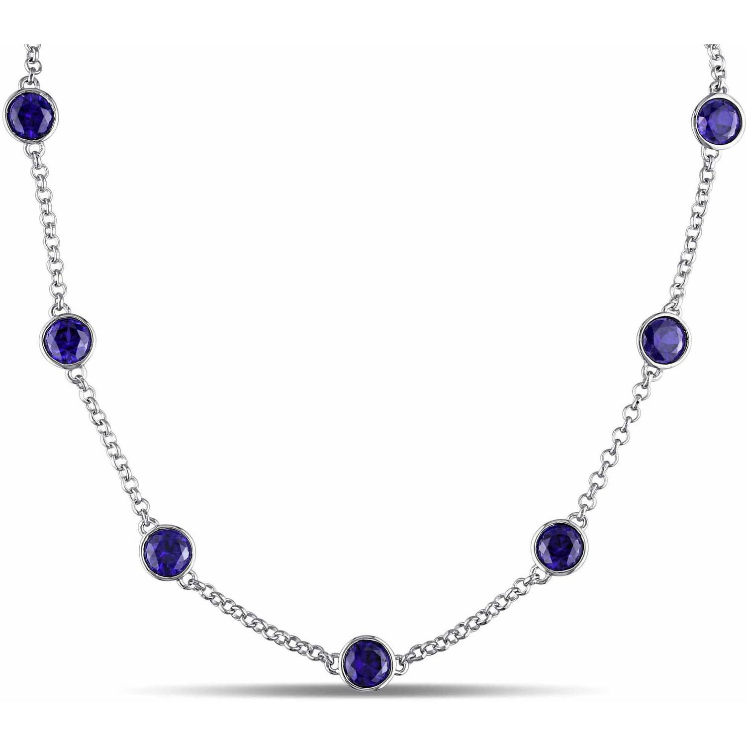 "Tangelo 9-1 4 Carat T.G.W. Created Blue Sapphire Sterling Silver Station Necklace, 19"" by"