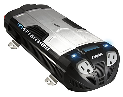 Energizer 1500 Watt Power Inverter converts 12V DC from car's battery to 120 Volt AC with 2 USB ports 2.1A shared... by Energizer