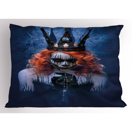 Queen Pillow Sham Queen of Death Scary Body Art Halloween Evil Face Bizarre Make Up Zombie, Decorative Standard Size Printed Pillowcase, 26 X 20 Inches, Navy Blue Orange Black, by Ambesonne](Halloween Face Paints Zombie)