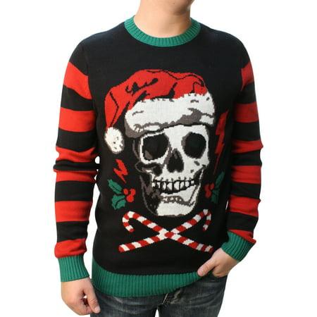 Ugly Christmas Sweater Men's Skull Santa Hat Light Up Pullover Sweatshirt for $<!---->