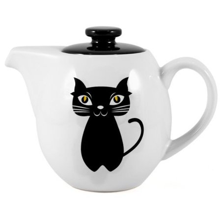 OmniWare Teaz Cat Noir Stoneware 24 Ounce Teapot with Stainless Steel Mesh Infuser White stoneware with lead-free glazing and black cat painted onIncludes stainless steel mesh infuserCurvaceous, modern body designMakes only 3-4 cups of tea at a timeMicrowave safe without infuserDishwasher safe